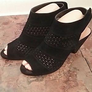 Audrey Brooke black leather die-cut booties size 8